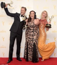 Derek, Julianne and Tessandra - Emmy winners 2015 Courtesy: Reuters